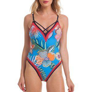 Trina Turk Tahiti Tropical V-Plunge Swimsuit.